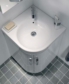 Twyford E200 500 White Corner Vanity Unit And Basin   Floor Standing