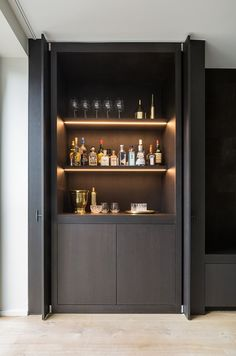 These Home Cocktail Bar Ideas Are Perfect For The Party Season is part of Small Bar cabinet - Raise the bar this holiday season with an ultraglamorous cocktail cabinet or home bar that's bound to cause a stir with guests House Design, Design Ideas, Interior Design, Modern Interior, Door Design, Kitchen Interior, Bar Embutido, Home Cocktail Bar, Home Bars