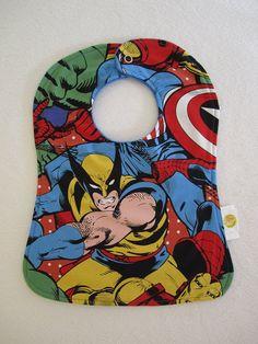 Marvel Comics  Wolverine  XMen  Snap Baby Bib  by adrisadorables, $10.00