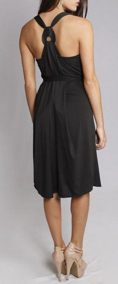 Black Racerback Halter Dress <3