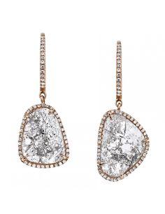 Natural shape diamond slice earrings