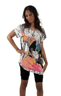 """Ethnic Tunic Top-Sisters of Paradise.  Bold and stylish tunic. One size fits up to 50"""" bust and 30"""" length. 100% polyester."""