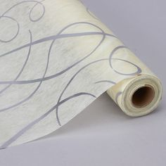 """Non Woven Fabric Table Runner in Ivory and Silver 19"""" x 10 yd per Roll"""