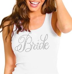The bride will look wonderful in white when she wears this tank top! The cotton rip tank says Bride in rhinestones. Wear this during the bridal shower, bachelorette party, or while getting ready the morning of the wedding!