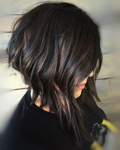25 Best Hairstyle Ideas For Brown Hair With Highlights: black layered bob with subtle copper highlights #MotorcycleHairstylesForWomen
