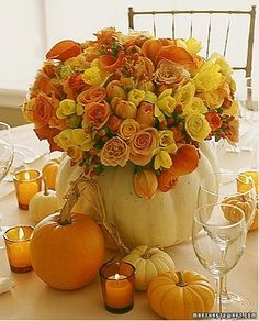Flowers in Pumpkin Vase Centerpieces | Budget Brides Guide : A ...