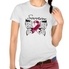 Head Neck Cancer Survivor Butterfly T-shirt by cancerapparelgifts.com  #HeadNeckCancer #HeadNeckCancerawareness #HeadNeckCancershirts