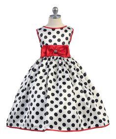 Ellie Kids Red & Black Polka Dot Bow A-Line Dress - Kids & Tween | zulily