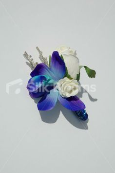 Galaxy Blue Orchid, Ivory Rose Wedding Buttonhole Satin Ribbon