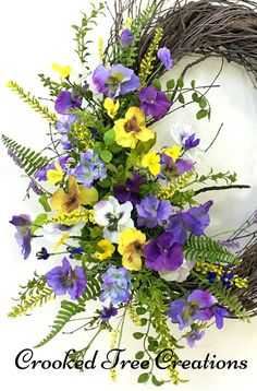 Spring Wreath Pansy Wreath Summer Wreath Pansies Mothers