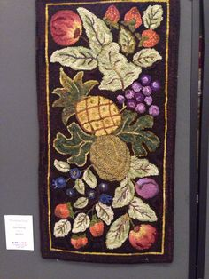 """Primitive Fruit"" Hooked by, Paula Manning Designed by, Jane McGown Flynn"
