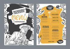 Find Creative Menu Design Menu Template Layout stock images in HD and millions of other royalty-free stock photos, illustrations and vectors in the Shutterstock collection. Restaurant Poster, Restaurant Branding, Design Graphique, Art Graphique, Web Design, Layout Design, Recipe Book Design, Menu Illustration, Menu Layout