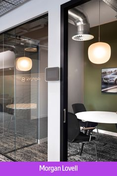 Step inside Hyundai's designer office in Leatherhead, UK. Neon Letter Lights, Light Letters, L Shaped Bench, Bold Typography, Glass Cube, Meeting Rooms, Media Wall, Group Of Companies, Step Inside