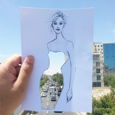 Illustrated Fashion Cut-Outs Superimposed Over Striking Backgrounds