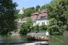 Tübingen in Germany - where my friend Oliver Tausend lives! The river Neckar - View to the south - Seen from the garden of the former French officers' mess - Beware of the restaurant though