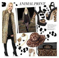 """Fall Trend Report: Animal Prints"" by luisaviaroma ❤ liked on Polyvore featuring Carvela Kurt Geiger, Yves Saint Laurent, Christian Louboutin, Borsalino, Nach and Roberto Cavalli"