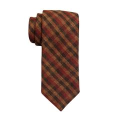 Browny Checkered Wool Slim Necktie by The Tie Hub