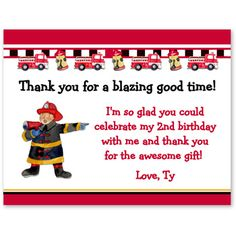 Fireman Firetruck Birthday Party Thank You Cards