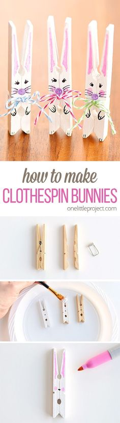 These clothespin bunnies are so adorable and they're really simple to make! They're a great little Easter decoration and a super cute Easter craft to make with the kids. Such a fun and easy spring craft idea! #ArtAndCraftCreative