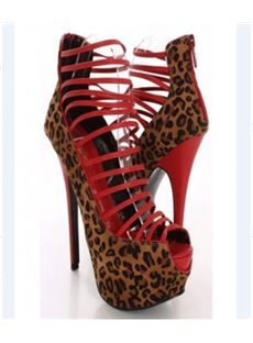 Fashionable Leopard Grain Peep Toe Cut-Outs High Heel Shoes Sandals
