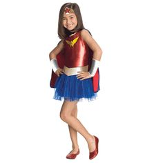 Wonder Woman Tutu Kids Costume-This fashion forward Wonder Woman Tutu Costume for kids will make her look like the cutest little super hero in town #Comics