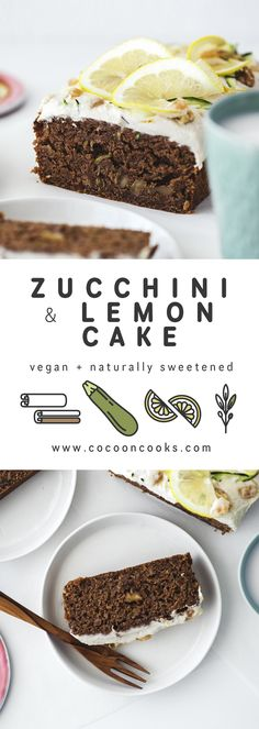 This Zucchini & Lemon Cake is rich in flavour and fluffy yet moist in texture. If you're into olive oil, walnuts and lots of warming spices, this is the cake for you! #vegan #recipe