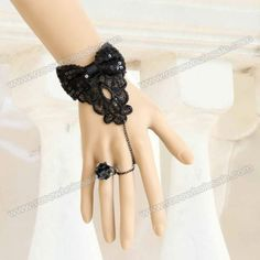 Wholesale Delicate Jacquard and Sequins Bowknot Embellished Lace Bracelet With Flower Shape Ring For Women (BLACK,ONE SIZE), Bracelets - Rosewholesale.com