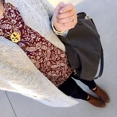 With Style & Grace: cozy cardigan, ankle boots, and monogram necklace outfit