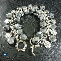 ♥ Superb Black Labradorite Larvikite Coins Hammered Plated Silver Charm Bracelet