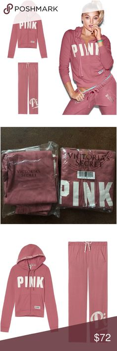 VICTORIAS SECRET Set Sweatpants & Hoodie Outfit Brand New Victoria's Secret PINK Set / Outfit. Mauve Pink color. Still in packages. *Hoodie is a size SMALL. *Lounge sweatpants are Size XSMALL (fit like small or medium)  pants are the boyfriend double stitched rear end. See photo #4 for details. Please ask questions prior to purchase. PRICE IS FIRM. No Trades PINK Victoria's Secret Tops Sweatshirts & Hoodies