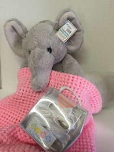 Happy Baby Plush Gray Elephant Decor Pink Knit Blanket Shoes Infant Girls | eBay