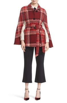 kate spade new york chunky plaid belted wool blend cape