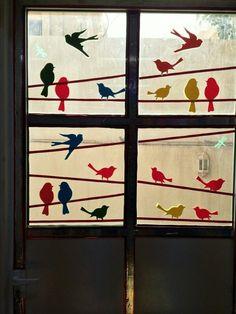 Window decoration with birds - New Deko Sites Classroom Window Decorations, School Decorations, Bird Template, School Murals, Wooden Pattern, Paper Birds, Class Decoration, Preschool Crafts, Paper Crafts