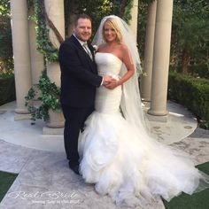 What a beautiful photo of Alicia wearing 'Tulip' by Viva Bride  This fabulous dress with ruffled skirt adds a touch of glamour and sophistication on your special day www.wed2b.co.uk
