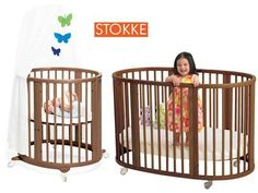 This is a great crib that expands from a tiny bassinet into a full size, and the oval shape makes it take up less space in a room. The front of it also comes off to turn it into a toddler bed. If you replaced your dressing side table with this it could work until the baby is 3-4 yrs. They can often be found used on Park Slope Parents or Craigslist