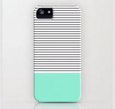 Minimal mint stripes case