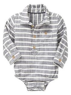 Baby Gap has the best collared onesies for boys. They're soft, stretchy and come in lots of great colors.