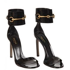 Gucci Black Patent Leather Ankle-Strap Sandals ($490) ❤ liked on Polyvore featuring shoes, sandals, heels, footwear, gucci, high heel sandals, heeled sandals, black sandals, ankle wrap sandals and high heel shoes