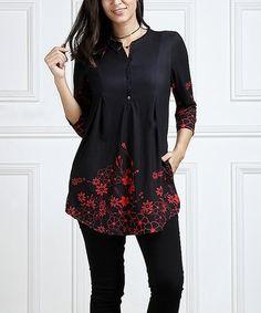 Look at this #zulilyfind! Black Floral Notch Neck Button-Front Tunic #zulilyfinds