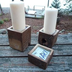 Pillar #candle holders lined with #tin from a #feta #cheese #can. Limited #sets #available. 200 year old pine. #reclaimed #greendesign #newwork #upcycle #upcycled #greendesign #homegoods #modernrustic #interiordesign #fetacheesetin #fetacheese #tin #tistheseason #perfectgift #xmas2015 #christmasgift #madeinusa #madeinamerica #oneofakind #handmade #rustic