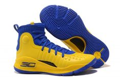 95d93dcb520 2018 Mens Under Armour Curry 4 Mid Basketball Shoes Royal Blue Lemon  Yellow