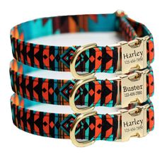 Personalized Aztec Dog Collar - Tribal, Navajo Dog Collar - Ring of Fire