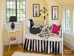 Black and White Classic  Bebe Chic Bianca 3 Piece Crib Bedding Set, 1 pc zipper bumper, dust ruffle, sheet. This beautiful bedding by Bebe Chic will enhance your child's room or nursery. View site for coordinating nursery room accessories. You will also find some wonderful baby gifts.  #waughinteriordesigns.com #Crib_Bedding #Nursery
