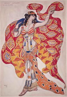 Costume design by Léon Bakst (1866-1924), 1913, Madame Bartet as Bérénice, Opaque and transparent watercolor, gold paint, and graphite pencil.