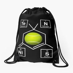 'Awesome Tennis gift for tennis players Periodic Elements, Tennis Gifts, Presents For Mom, Tennis Players, Woven Fabric, Spelling, Drawstring Backpack, Periodic Table