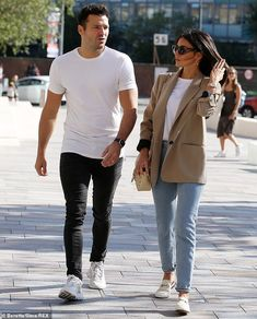Oops: The couple enjoyed a brief chit chat and Michelle asked her husband how his morning run was, but he slipped up and confessed he had also had breakfast which he was supposed to be waiting for her for Mark Wright, Michelle Keegan, Morning Running, Waiting For Her, Couple Goals, Normcore, Husband, Actresses, Couple Photos