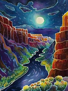 Moonlit Canyon Art Print by Harriet Peck Taylor. All prints are professionally printed, packaged, and shipped within 3 - 4 business days. Choose from multiple sizes and hundreds of frame and mat options. Landscape Quilts, Landscape Paintings, Watercolor Paintings, Landscapes, Batik Art, Desert Art, Southwest Art, Fabric Painting, Painting Art
