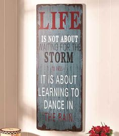 "Wooden Wall Plaque ""Dancing In The Rain"" Saying Ready to Hang Makes A Nice Gift"