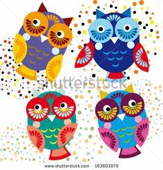 Four bright colorful owls set  by EkaterinaP, via ShutterStock