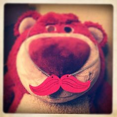Lotso pink moustache Toy Story 3, Moustache, Strawberry, Baby Shoes, Random Stuff, Mustache, Strawberry Fruit, Strawberries, Moustaches
